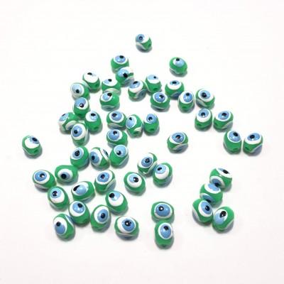 Ματάκια χάντρες ακρυλικές οβάλ, λαχανί χρώμα 7.5x6.3mm (συσκευασία/50τμχ.)