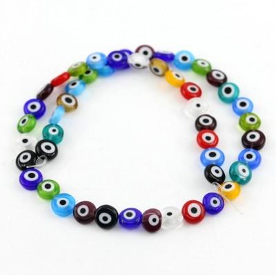 Ματάκια γυάλινα πλακέ χάντρες μικτά χρώματα 8mm (σειρά/48τμχ.)