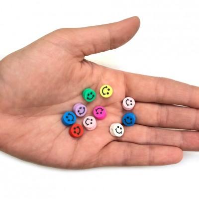 Χάντρες fimo 10mm smile μικτά χρώματα (συσκευασία/10χάντρες)
