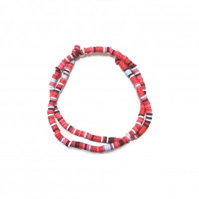 Χάντρες fimo ροδέλα πλακέ 4mm μικτά χρώματα κόκκινο/ φούξια/ γαλάζιο/ καφέ (σειρά/300χάντρες)